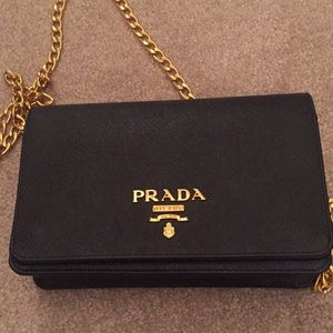 0a8b85db51d0 ... cheap authentic prada saffiano leather wallet on a chain 19ed4 5325c